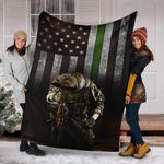 Thin Green Line American Flag Blanket Veterans Fleece Blanket