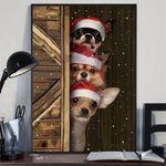 Chihuahua Sneaky Behind Door Poster Funny Santa Dog Christmas Poster Rustic Wall Decor
