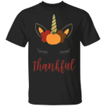Unicorn Thankful T-Shirt Cute Unicorn Autumn Shirt Vintage Designs Thanksgiving Gifts For Women
