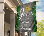Jesus Is The Reason For The Season Flag Vintage Green Mix Wood Pattern Flag Front Yard Decor