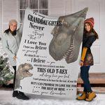 T-Rex To My Granddaughter Fleece Blanket Love Letter From Grandpa Blanket, Granddaughter Gifts