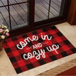 Come In And Cozy Up Doormat Red And Black Tartan Plaid Vintage Season Indoor Decor Friend Gifts