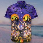 Pug Halloween Hawaiian Shirt Bat Pumpkin Tree Halloween Themed Button Up Shirt For Adults