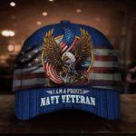 I'm A Proud Navy Veteran Cap Eagle Patriotic US Flag Baseball Hat Honor Navy Vet Retired