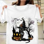 Black Cat Witch Halloween Shirt Cool Cat Graphic Tee Funny Halloween T-Shirt Gift For Her