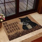Black Cat No Knockee Before Coffee Doormat Cool Welcome Mats Best Gifts For Coffee Lovers