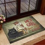 Cats Hey Girl Your Coffee Is Ready Doormat Funny Doormat Sayings Gifts For Coffee Drinkers