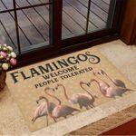 Flamingos Welcome People Tolerated Doormat Inside Door Mats Gifts For Flamingo Lovers