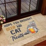Hope You Brought Beer And Cat Treats Doormat Cat Welcome Mat Gifts For Beer Lovers