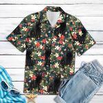 Tropical Black Cat Hawaiian Shirt Cute Summer T-Shirts Presents For Cat Lovers