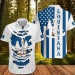 Louisiana Hawaiian Shirt Flag Of State Louisiana Apparel Button Up Shirt Patriotic Gift