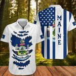 Maine Hawaiian Shirt Honor Flag Of State Maine Clothing Patriotic Button Up Shirt