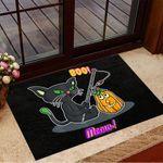 Black Cat Boo Moew Pumpkin Doormat Halloween Doormat Presents For Cat Lovers