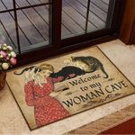 Welcome To My Woman Cave Reading With Cats Doormat2