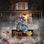 Dachshund Witch Happy Halloweenie Yard Sign Funny Dog Halloween Outdoor Porch Sign