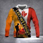 Lest We Forget Canada Flag Hoodie Honor Sacrifice Soldier Canadian Veteran Patriotic Clothing