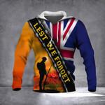 Lest We Forget UK Flag Hoodie Patriotic Honoring United Kingdom Soldier Veterans Gift
