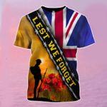 Lest We Forget UK Flag T-Shirt Patriotic Honoring United Kingdom Soldier Veterans Memorial