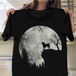 Pug On Mountain T-Shirt Big Moon Halloween Themed Shirts Gifts For Pug Lovers