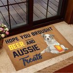 Hope You Brought Beer And Aussie Treats Doormat Dog Welcome Mat Gifts For Beer Lover