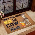 Hope You Brought Beer And Cow Treats Doormat Indoor Door Mats Non Slip Gifts For Cow Lovers