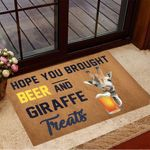 Hope You Brought Beer And Giraffe Treats Doormat Hilarious Doormats Gifts For Giraffe Lovers
