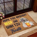 Hope You Brought Beer And Shih Tzu Treats Doormat Welcome Home Doormat Presents For Dog Owners