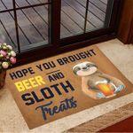 Hope You Brought Beer And Sloth Treats Doormat Beer Doormat Gifts For Sloth Lovers
