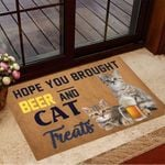 Hope You Brought Beer And Cat Treats Doormat Cute Doormat Gifts For Cat Lovers