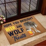 Hope You Brought Beer And Wolf Treats Doormat Funny Welcome Mats Gifts For Wolf Lovers