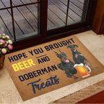 Hope You Brought Beer And Doberman Treats Doormat Dog Doormat Gift Ideas For Beer Lovers