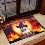 Never Mind The Witch Beware Of The Bulldog Doormat Pumpkin Doormat Halloween Theme Decorations