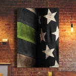 Thin Green Line Flag Poster Patriotic Honoring Our Military Men And Women Home Decor Gift