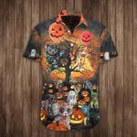 Cat Pumpkin Halloween Hawaiian Shirt Cat Themed Halloween Button Up Shirt Apparel