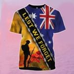 Lest We Forget Australia Flag T-Shirt Honor Soldiers Veteran Remembrance Anzac Day Clothing
