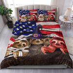 Three Sloths Halloween American Flag Bedding Set Halloween Duvet Cover Merch Adults Gifts