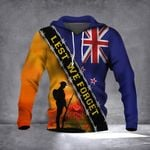 Lest We Forget New Zealand Flag Hoodie Remembrance Anzac Day Veterans Gift
