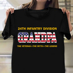 24th Infantry Division Grandpa The Veteran The Legend Shirt Proud American Veteran T-Shirt