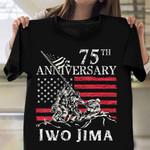 75th Anniversary Iwo Jima Veteran Us Flag T-Shirt American Patriot Shirts Gifts For Veteran