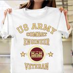US Army Combat Engineer Veteran T-Shirt Vintage Army Shirt Patriotic Gifts For Veterans