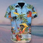 Dachshund At Beach Holiday Hawaiian Shirt Cute Family Vacation Button Up Shirt Mens Womens