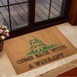 Come Back With A Warrant Doormat Gadsden Snake Logo Decorative Doormat
