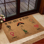 In This House We Believe Black Lives Matter Doormat LGBTQ Welcome Mat Home Decor