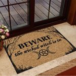 Beware The Wicked Witch Is In Doormat Funny Welcome Mats Halloween Gifts