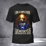 Eagle I Am A Simple Man I Like Motorcycles Shirt Christian T-Shirt Gift For Motorcycle Lover