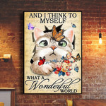 Cat And I Think To Myself What A Wonderful World Poster Vintage Wall Art Prints Wall Decor