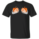Skeleton Hands Boobs Pumpkin T-Shirt Funny Halloween Shirts Urban Outfitters Unisex Clothes