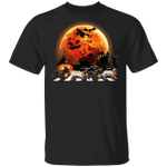 Frenchie Bulldog Walking With Witch Hat Blood Moon T-Shirt Halloween Gifts For Dog Lovers