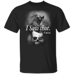 I Saw That Karma Black Cat And Skull T-Shirt Funny Halloween Costumes Gifts For Cat Lovers