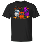 Owloween Halloween Pumpkin Witch T-Shirt Funny Gift For Owl Lovers Family Presents